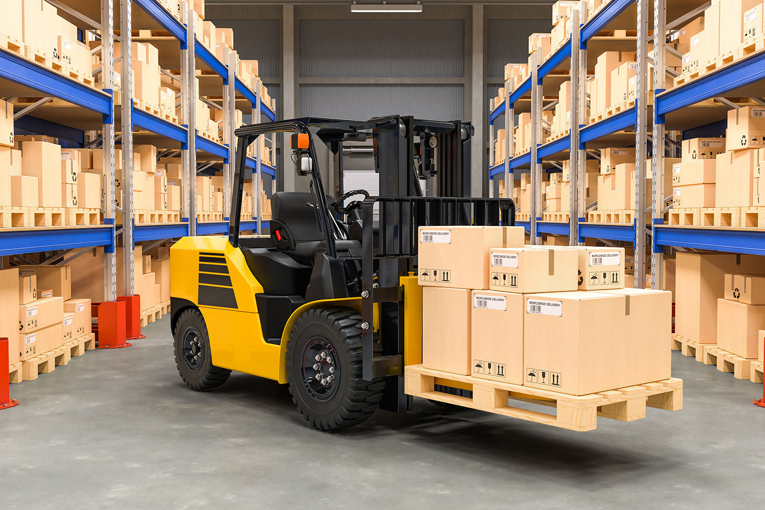 [:pl]Forklift truck with cardboard boxes in warehouse, 3D rendering[:]